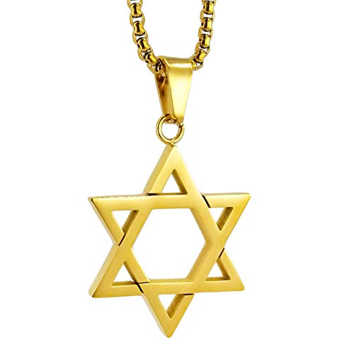 Apopo Star of David Necklace Hiphop Stainless Steel Pendant Jewelry - Gold