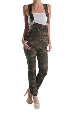 G-Style USA Women's Camo Print Overalls RJHO147A - OLIVE CAMO - 2X-Large - C7E