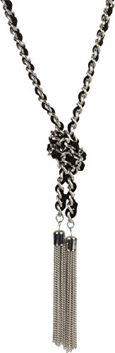 (GUESS Woven Knotted Chain with Tassel Silver Y-Shaped Necklace)