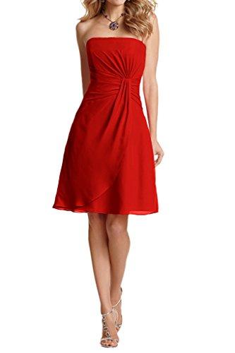 La Summer Chiffom Traegerlos Rot linie Neu Brautjungfernkleider Elegant Abendkleider Braut mia Partykleider A Kurz rHpqgr