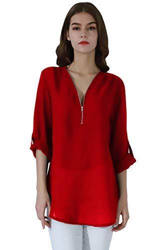 YMING Women's Chiffon Casual Blouse Long Sleeve Tunic Shirt Red L