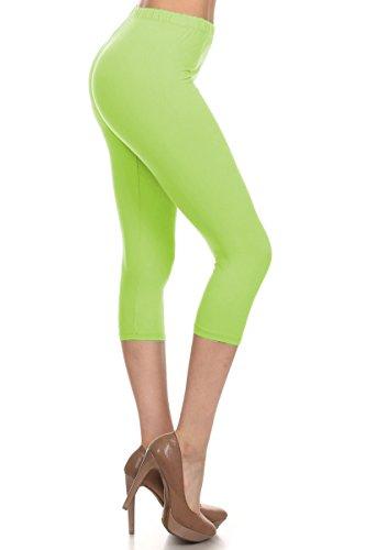 Lime Green Capri Pants (Leggings Depot Women's Popular Basic Capri Cropped Regular and Plus Solid High Waist Leggings (Regular (Size 0-12), Lime))