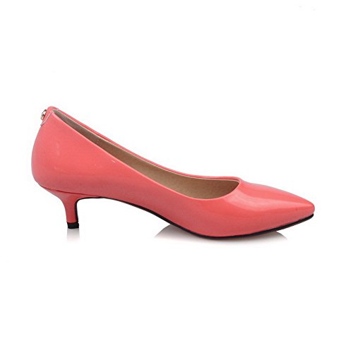 AgooLar Damen Ziehen Auf Pu Mittler Absatz Eingelegt Pumps Schuhe Wassermelone Farbe