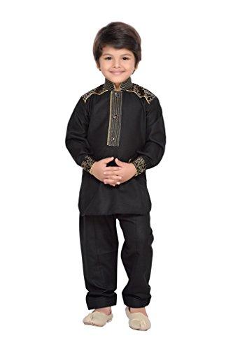 AJ Dezines Kids Indian Ethnic Pathani Suit Set for Boys (1911-BLACK-10)