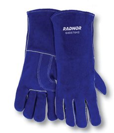 Radnor Glove Welders Large Blue 14'' Shoulder Split Cowhide Cotton/Foam Lined Insulated With Reinforced, Wing Thumb -1 Dozen Pairs