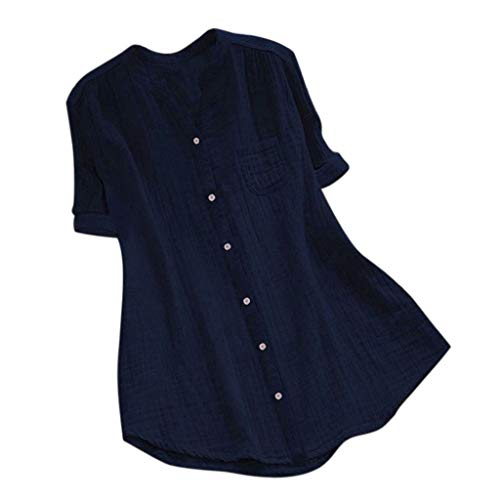 MILIMIEYIK New Women Stand Collar Long Sleeve Casual Cotton Loose Soft Tunic Tops T Shirt Blouse Plus Size