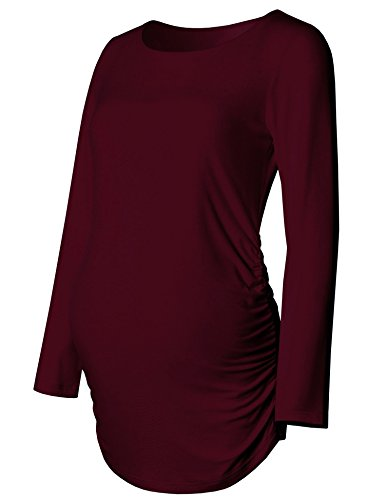 Maternity Shirt Long Sleeve Basic Top Ruch Sides Bodycon Tshirt for Pregnant Women Burgundy (Belly Basics Maternity Clothes)