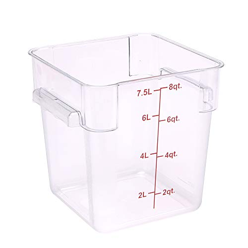 Met Lux 8 Quart Brine Buckets, 10 Square Marinating Containers - With Volume Markers, Built-In Handles, Clear And Red Plastic Dough Rising Buckets, Freezer-Safe, Lids Sold Separately