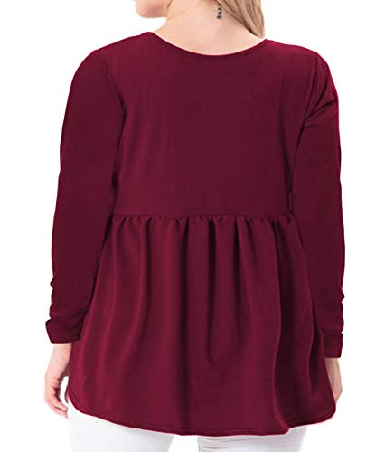 YASAKO Women's Plus Size Button Down Shirts Notch Henley V Neck Long Sleeve Pleated Flowy Blouses Casual Tunic Tops (WineRed, 4X-Large)
