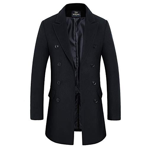 - HXW.GJQ Men's Classic Wool Blend Double Breasted Long Pea Coat (Black, X-Large)