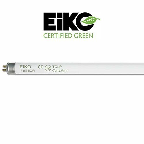 Eiko 15521 - F15T8/CW Straight T8 Cool White Color Fluorescent Tube Light Bulb, 18 inches long - Pack of 6