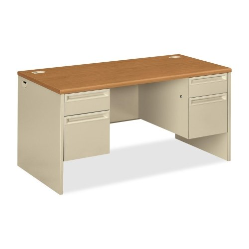 HON 38155 Pedestal Desk with Lock - 60quot; Width x 30quot; Depth x 29.5quot; Height - Double Pedestal - Radius Edge - Particleboard, Steel - Harvest, Putty - Radius Edge Double Pedestal Desk