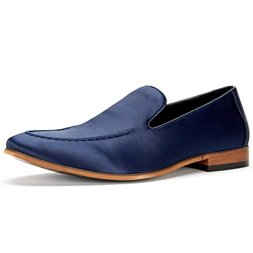 Cestfini Men's Satin Dress Shoes - Slip-on Satin Loafers Classic Leather Lined Formal Shoes MS005-NAVY-8 Blue