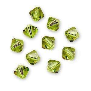 SWAROVSKI ELEMENTS Crystal Bicones 5301 6mm Light Olivine (20 Beads)