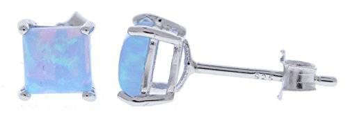 Sterling Silver 5×5 mm Square Created Sky Blue Opal Stud Earrings