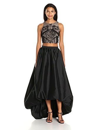 Adrianna Papell Taffeta Skirt (Adrianna Papell Women's Two Piece Halter Beaded Top with High Low Taffetta Skirt, Black Nude, 2)