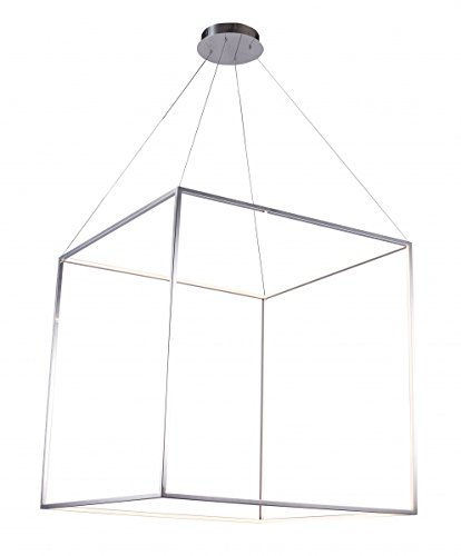 Shiny Nickel Stainless Steel Floating Led Box Light Fixture