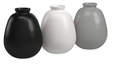 "Ravenna Home Mid-Century Stoneware Vases, Set of 3, 4.8""H, 3 colors"