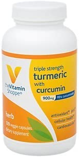 Triple Strength Turmeric with Curcumin 900mg, Supports Joint Mobility Provides Antioxidant Benefits 5mg Bioperine to Enhance Nutrient Absorption Once Daily 120 Capsules by the Vitamin Shoppe