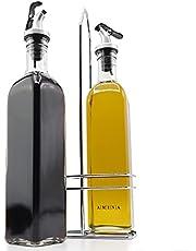 A|M|I|N|A Vinäger och oljedispenserset – 3 delar, 2 oljeflaskor och hållare, läckagesäker och droppfri, med anti-smutsförslutning.