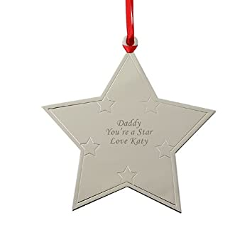 personalised engraved metal star christmas tree decoration a lovely christmas gift idea amazoncouk kitchen home - Metal Christmas Decorations