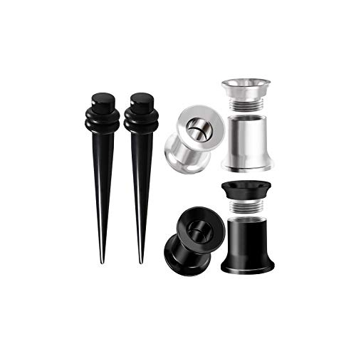 BIG GAUGES 3 Pairs Black Acrylic Anodized Steel 4g Gauge 5mm Taper Expander Double Flare Internally Tunnel Piercing Ear Plugs BG6273