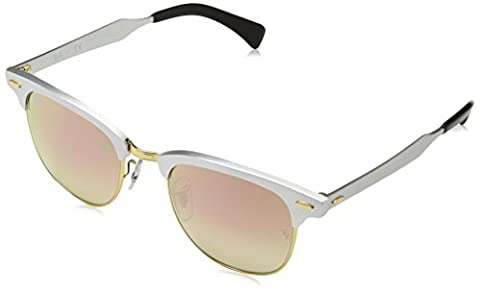 Ray-Ban CLUBMASTER ALUMINUM - BRUSCHED SILVER Frame COPPER FLASH GRADIENT Lenses 51mm Non-Polarized (Aluminum Case Sunglasses)