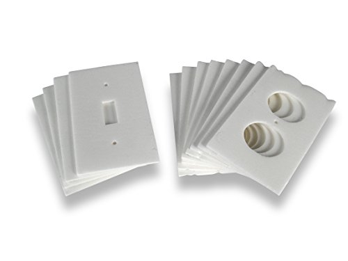 WJ Dennis & Company 12RS Electical Outlet Receptacle and Light Switch Seals, (8 Receptacle Seals & 4 Light Switch Seals), White