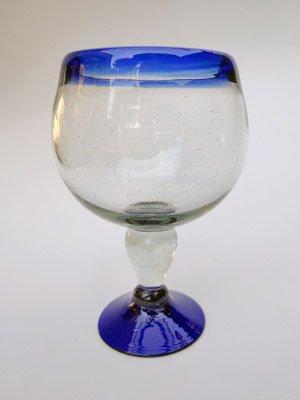 (Mexican Blown Glass Shrimp Cocktail Chabela Glasses Cobalt Blue Rim (Set of 6))