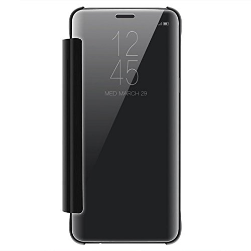 for Samsung Galaxy S9 5.8inch/S9 Plus 6.2inch, Tuscom PU Leather Case Cover Skin,Luxury Smart Sleep Wake UP Mirror Flip Case (Black, S9 Plus 6.2inch)