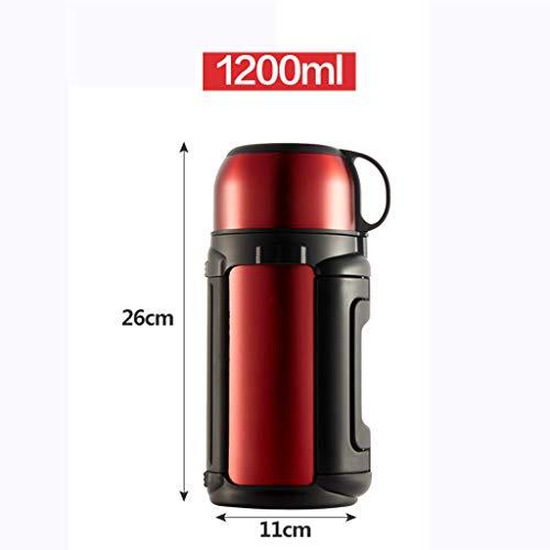 WLHW Trinkflaschen Isolierung Wasserflasche, Mode Reise Doppelwand Lebensmittelqualität Edelstahl Kaffeetasse Becher Vakuum 1200 Ml