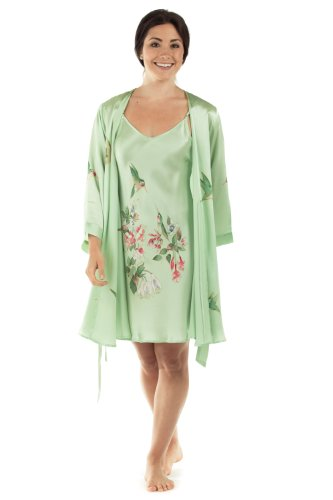 TexereSilk Women's Silk Nightgown Robe Set - Elegant Gifts (The Hummingbirds, Celadon Green, Small) Top for Wife Girlfriend WS0602-CDN-S