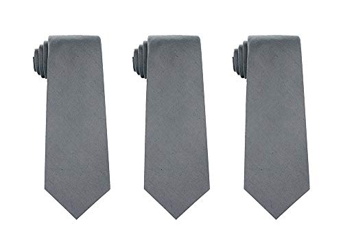 Kebs Basic Mens Solid Color Cotton Necktie Regular Tie for Men 3 PCS - (Regular Tie End)