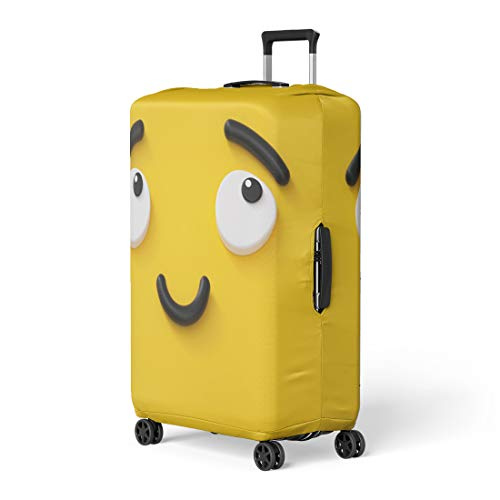 Pinbeam Luggage Cover 3D Render Cute Emotional Cartoon Face Shy Smiley Travel Suitcase Cover Protector Baggage Case Fits 26-28 inches