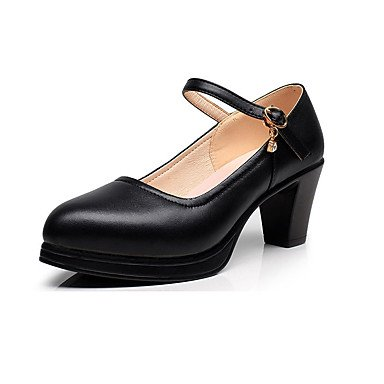 Spring uk2 Chunky black Basic 4 3in Leather ggx Women's 3 Basic 5 Heel Pump amp; Fall 2 3 Pump eu34 LvYuan cn33 Career us4 White Heels 4in Black Office 5 YFOwq1