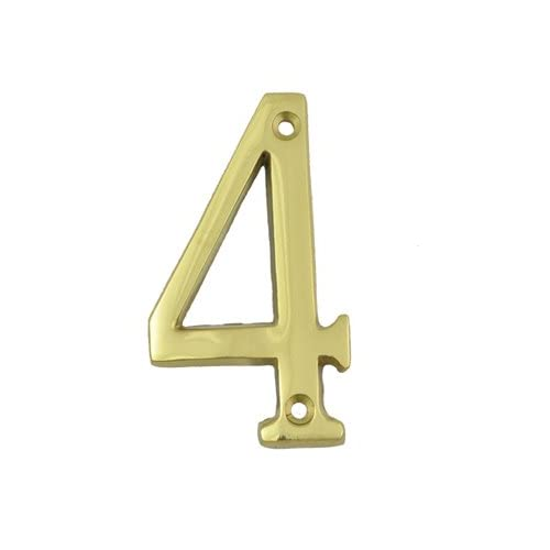 (#4) BOLTON 3 Inch Solid Brass Bright Brass Finish House Number Raised 1/6""
