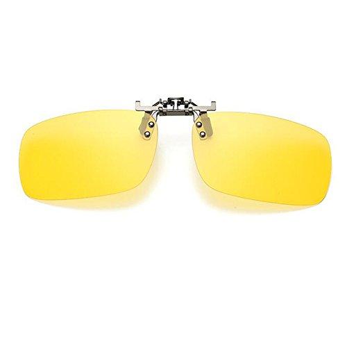 up Proteccion Flip Metal Marco Amarillo Lente reflejante sol Gafas Gafas Hombre Espejado Polarizado Clip de Anti Hzjundasi Mujer UV400 on BOp0xWq