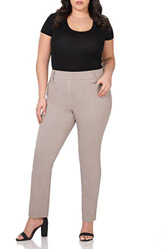 Rekucci Curvy Woman Ease in to Comfort Straight Leg Plus Size Pant w/Tummy Control (20WSHORT,Khaki)