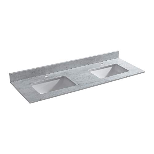 (WOODBRIDGE DOULBE CAVT6122D-1 Vanity Top with Under Mount Bowl, 61