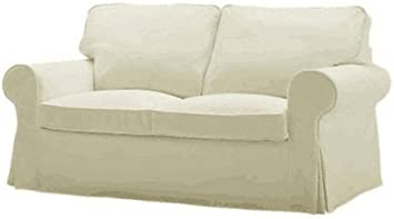 Replace Cover for IKEA Ektorp Two Seat Sofa Bed, Ektorp Two Seater Sleeper Sofa Cover, 100% Cotton Fabric, Multi Color Options (Beige)