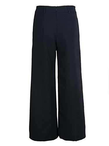 Fluide Noir Avec Taille Chic Oudan Pantalons Femme Elégant Haute Ceinture Casual Large Mode FXFt7q6