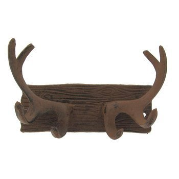 (Aunt Chris' Products - Cast Iron Antler Wall Plaque with Hooks - Old Rustic Color Finish - Use Indoor Or Outdoor - Great For Any Home, Mancave, Hunting Shde, Ect.)