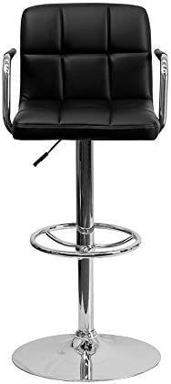 Offex Contemporary Black Quilted Vinyl Adjustable Height Bar Stool