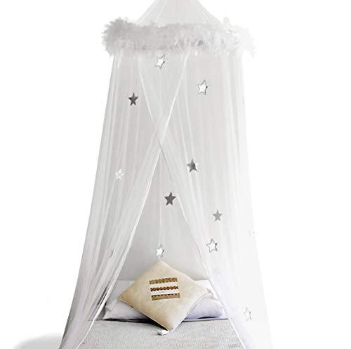 Canopy Girls (Boho & Beach Bed Canopy Mosquito Net Curtains with Feathers and Stars for Girls Toddlers and Teens, White)