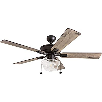 "Prominence Home 80091-01 Abner Vintage Indoor/Outdoor Ceiling Fan, ETL Damp Rated 52"" LED Schoolhouse Edison Bulb, Rustic Farmhouse/Barnwood Blades, Espresso Bronze"