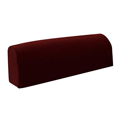 Armrest Cover Ultra Thick and Soft Spandex Stretch Pixel Arm Cover For Recliners Sofas Chairs Loveseats Elastic Anti slip Furniture Armrest Protector For Leather And Fabric Couch set of 2 (Burgundy) (Burgundy Slipcover)