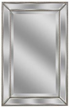 Deco Mirror 1204 32 in. L x 20 in. W Metro Beaded Mirror in Silver Finish