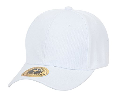 White Structured Adjustable Hat - TOP HEADWEAR Adjustable Baseball Structured Cap Hat, White