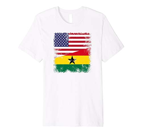 - Half Ghanaian Flag T-Shirt | Vintage Ghana USA Gift