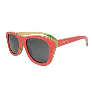 Womens Skateboard Maple Wood Red Cateye Sunglasses with Polarized Lenses